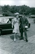 Princess Margriet Francisca of the Netherlands with Pieter van Vollenhoven in uniform.