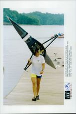 OS in Atlanta in 1996. Maria Brandin leaves the rowing station after the fierce fourth place in the final