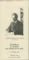 A flyer for a performance with August Strindberg at Theater Varia