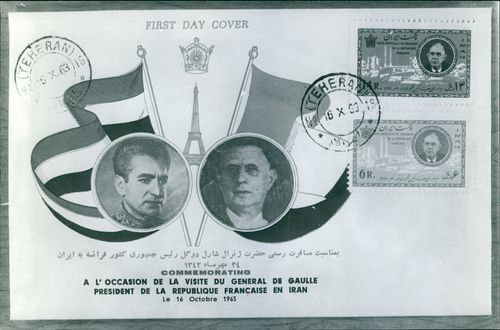An envelope with Mohammad Reza Shah Pahlavi and Charles de Gaulle's images with Charles de Gaulle's post stamps, commemorating his visit in Iran.  - Oct 1963