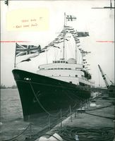 Ship britannia,Flag on the royal yacht britannia dressed overall.