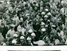 Ahmed Ben Bella among people.