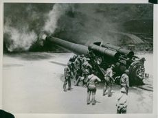 Soldiers administering tear gas during their training at Fort Barry.