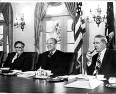 Henry Kissinger, President Gerald Ford and Schlesinger in the White House