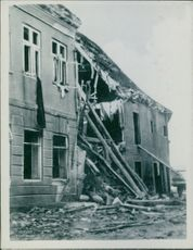 War damages in Denmark during the German occupation. A destroyed infrastructure during the war, 1942.