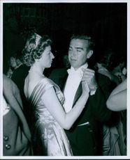 Princess Astrid of Belgium dancing with Jack Newman during the WAIF Ball. 1960.