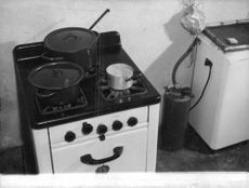 Pots on stove.  - Jun 1960