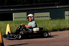 Prince Carl Philip runs the gocart