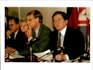 Richard Charles Albert Holbrooke with wolfgang ischinger and pauline neville jones and carl bildt.