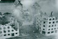 Civilforsvarets training is good. Have a ruined city in miniature Exercise inombus. 1954.