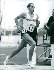 British athlete, Steve Ovett, in action, 1983.
