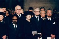 International delegates and royals participated under the French presidency François Mitterrand's fortress