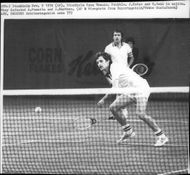 Tennis player Jan Kodeš plays double with T. Forge at Stockholm Open