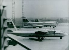 A view of Sophia Airport in Bulgaria. On the apron are jets of the Bulgarian Airlines fleet.  1979