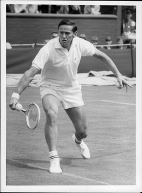 Roy Emerson in the opening match in Wimbledon.