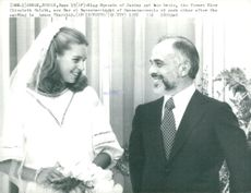 King Hussein of Jordan with his bride Elizabeth