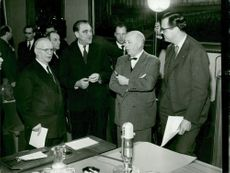 Three of the debaters: the author Vilhelm Moberg, Prof. Herbert Tingsten and Radio Chief Olof Rydbeck