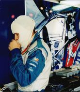 The Swedish racing driver Rickard Rydell in full concentration before the race to Brands Hatch.