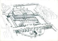 Sketch of the extension to the Parliament House in Helgeandsholmen