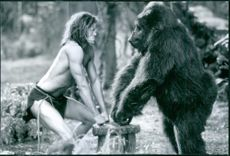 """A scene from the film """"George of the Jungle"""" with Brendan Fraser face to face with the gorilla."""