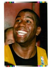 Magic Johnson American basketball player smiles as he announces he has rejoined the los angeles lakers.