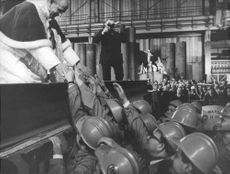 Pope Paul VI meeting workers.