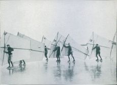 A group of athletes in the snow during the Olympics under by Viktor Balck. NOT PHOTO - CUT OUT