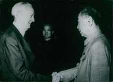 Chou En Lai, Premier of the people's Republic of china, with David Bruce, Chief of the Liaison office of the United states of America.