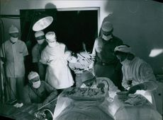 """Doctors performing a surgery in an operating room in Korea.  """"Red Cross Korea __ operation patient""""  1950"""