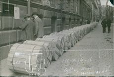 A containers in the street during First World War, 1914.