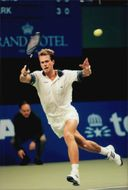 Stefan Edberg in qualifying for the Stockholm Open 1996