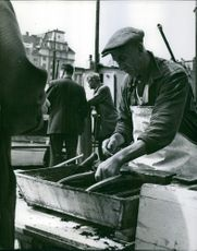 Fisherman selling fish in Bergen.