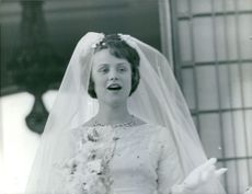 Princess Muna al-Hussein on her wedding day to King Hussein of Jordan I. 1961.