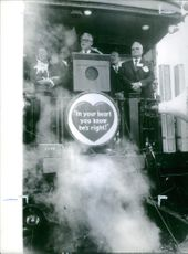 Barry Goldwater giving a speech, smoke spreading out, 1962.