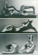 Resting figures of the sculptor Henry Moore