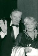 Yves Montand together with his wife Simone Signoret during a birthday celebration at the Parker Meridien Hotel