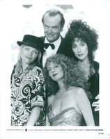 "Jack Nicholson surrounded by his witches in the movie ""The Witches of Eastwick"", Michelle Pfeiffer, Susan Sarandon and Cher"