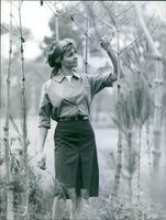 "Woman looking branches in ""My world""."
