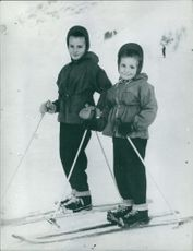 Christine Goitschel and Marielle Goitschel childhood photograph. 1964