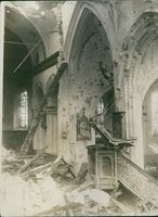 View of a damaged building during wartime.