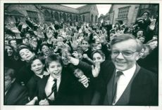 Schools 1988:Green lapping with exuberant pupils.