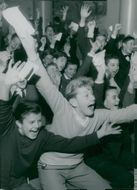 The crowd at the school of Skåne cheer out his team in