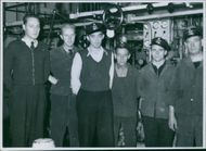Navy's standing inside of the ship during WWI in Sweden, 1944.