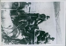 Group of soldier on the boat. 1940