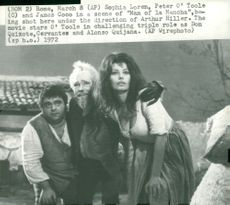 "Actors James Coco, Peter O'Toole and Sophia Loren in the movie ""The Man of La Mancha"""