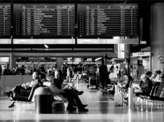 One of the waiting halls at Frankfurt Airport.