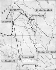 Map of the aircraft's flight and the accident point just south of Söderfors.