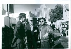 """A scene from the shooting of the movie """"Grand Canyon"""" 1991"""