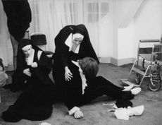 A scene on a film where two actresses were portraying their role as nuns.
