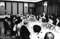 The Imperial House of Japan  Japanese Royal Family in a gathering. One of the royalties delivering a speech in a royal reception
